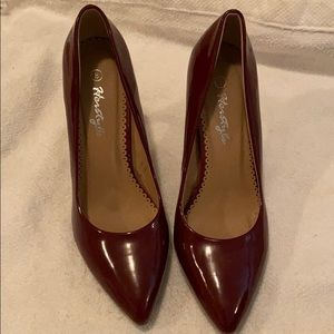 Cute burgundy patent leather shoes